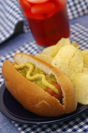 perro salchicha: Un hot dog de Am�rica.