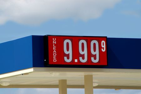 outrageous: An over-the-top gas price of 9.99 USD per gallon.