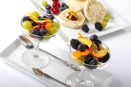 Room service style breakfast spread.