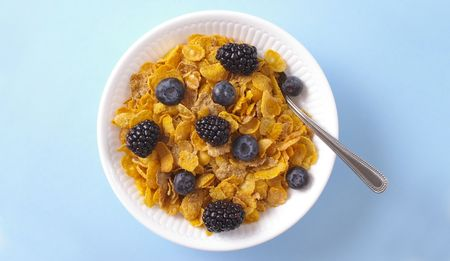 Whole grain cereal with blueberries and blackberries on a cheerful blue background.