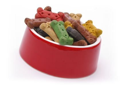 A full dinner of dog treats for a very pampered pooch. photo