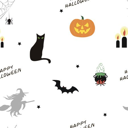 Happy Halloween pattern. Vector illustration in a flat style.