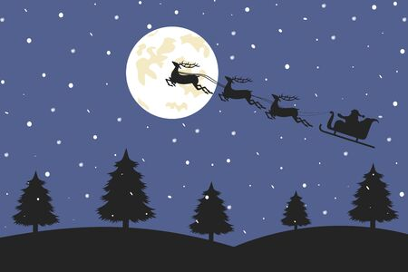 Santa Claus is flying in a sleigh with reindeer over the night forest. Christmas background. Vector illustration. Illustration