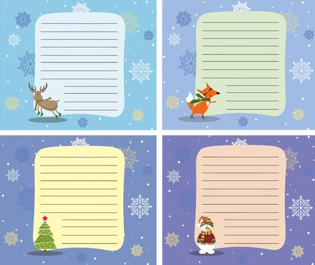 Cute Christmas reminders for notes. Cartoon festive characters on colored backgrounds with snowflakes.