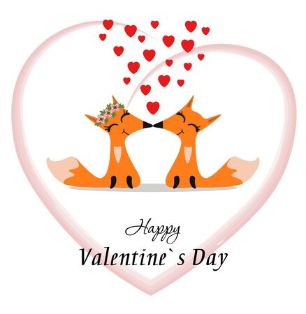 A cute pair of foxes. Loving foxes on a light background with a heart. Foto de archivo - 134540634