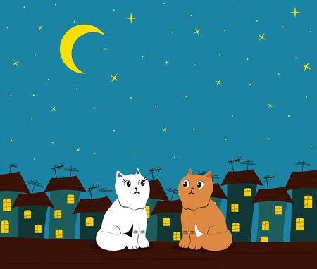 Loving couple of cats on the roof of the house against the background of the night, starry sky and the city. Greeting card, background.