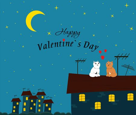 Loving couple of cats on the roof of the house against the background of the night, starry sky. Greeting card, background.