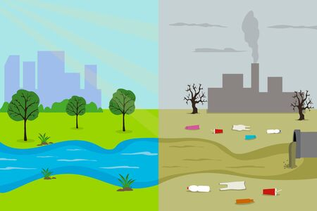 Ecology cartoon comparative concept of a clean planet and polluted due to industrial pollution. Vector illustration.
