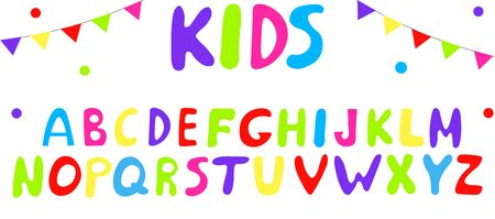 A set of multi-colored bright letters for inscriptions and design.