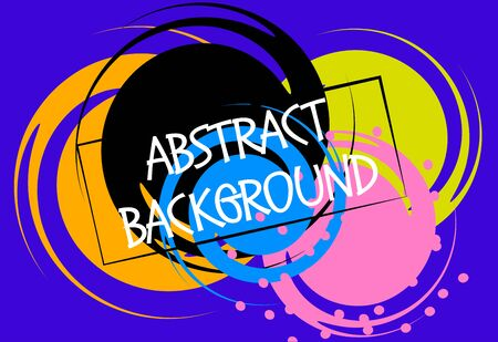 Vector illustration. Abstract geometric shapes on a bright blue background. Colored dynamic circles.