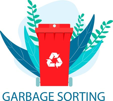 Recyclable container. Red bin. Green recycled symbol. Separate garbage collection. The tank stands against the backdrop of nature among the leaves. Flat vector illustration. Foto de archivo - 138297972