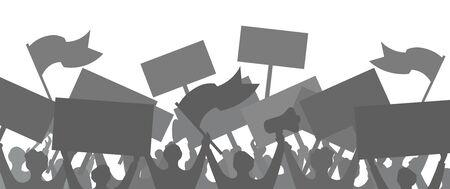 Silhouette di una folla di persone che protestano. Illustrazione vettoriale. Sfondo. Vettoriali