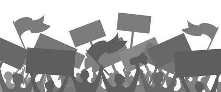 Silhouette of a crowd of protesting people. Vector illustration. Background.