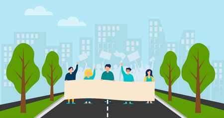 A group of people protesting in a strike, rally or parade. Vector background. Illustration in cartoon style.