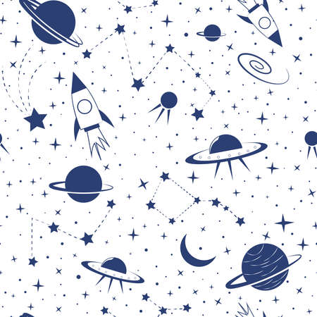 Seamless pattern with space elements. Vector pattern with image of rockets, planets, UFO, constellations. Ideal for childrens design, fabric, packaging, textiles. Blue objects on an isolated layer.
