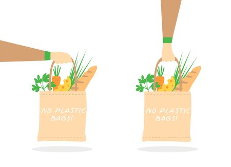 Hand holds eco bag with groceries. Vector illustration in a flat style. Set.