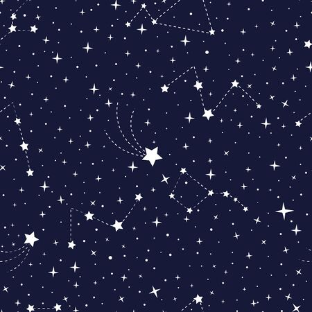 Vector stars and constellations seamless pattern. Constellations in the night sky. Night sky pattern - white constellations on a dark blue background.
