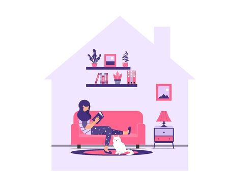 Girl is reading a book while sitting on a sofa. A young woman is relaxing at home on the couch with a book and a cat. Stay home during a pandemic. Coronavirus prevention concept.