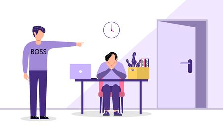 The boss fires an employee. A sad man sits at his former workplace, and the boss shows him the door. The concept of layoffs, unemployment and job cuts. Vector illustration in a flat style.