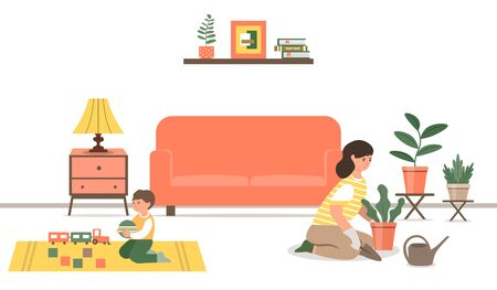 A young mother cares for houseplants while her son plays with toys. Ilustração