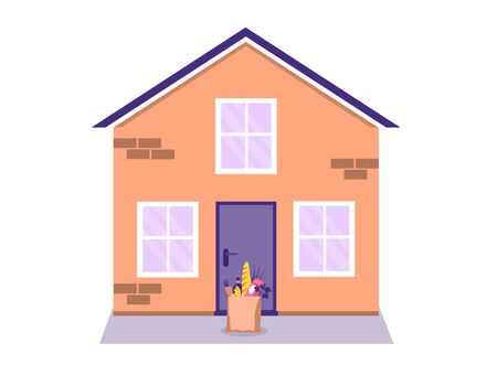 Contactless food delivery concept. Entrance to the house with a delivered food package. Order products online. Online grocery shopping concept. Vector illustration