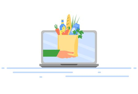 Online food ordering concept. Delivery of products online. Hand with food package on laptop screen. Buying food online. Vector illustration. Ilustracja