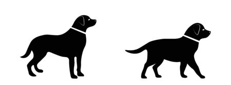 Black vector silhouette of a dog on a white isolated background.