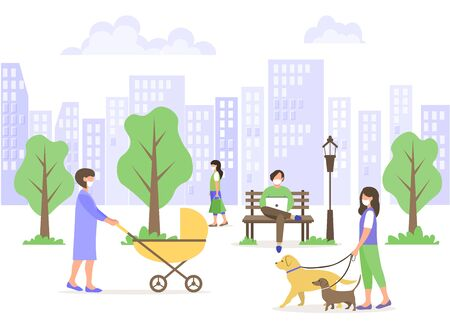 Male and female characters in medical masks walk in a city park. A young mother walks with a stroller. A man works on a laptop. The girl walks the dogs. Social distance during the COVID-19 pandemic. Vettoriali