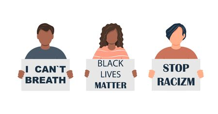 Male and female characters of different nationalities against racism. Black lives on matter.