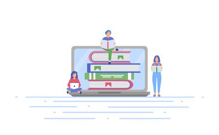 Online library concept with little people reading books. E-learning, online learning at home. The concept of distance education. Vector illustration on a white isolated background.