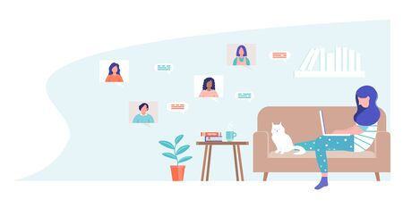 Female character sitting on a sofa chatting online. A woman communicates with colleagues in a videoconference. Online communication concept. Chatting with friends through social networks.