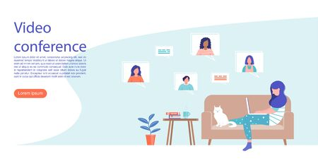 Video conferencing concept design. Female character communicates with friends or colleagues while at home. Vectores