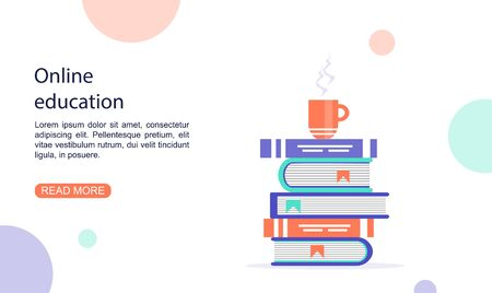 Landing page template of nline education. Online education concept. Distance learning. Electronic library. Modern vector illustration in a flat style.