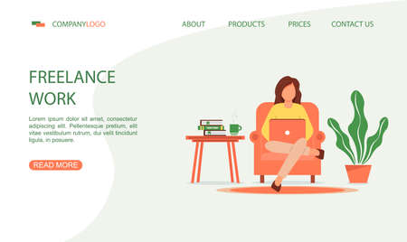 A woman is sitting in an armchair while working on a laptop. Home office concept, woman working from home. Landing page template in cartoon style. Illustration for freelancing, remote work, business