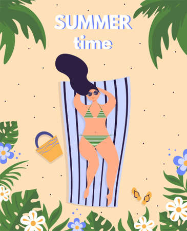 Summer time card with female character, lettering and floral frame.