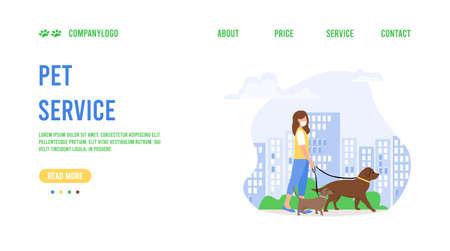 Landing page template of pet care. Pet care concept.