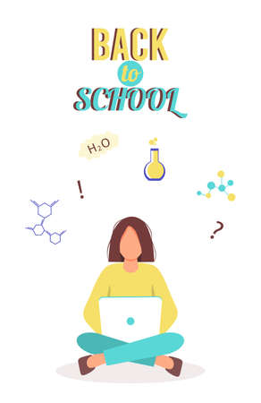 Online education concept. Girl with a laptop does homework in chemistry. Schoolgirl, college or university student gaining knowledge. Back to school. Female character with a laptop.