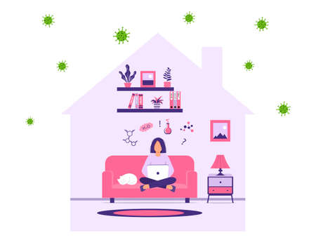 E-learning, online learning at home. Teen girl gets knowledge online. Distance education during self-isolation. A schoolgirl or college student is doing homework in chemistry. Vector illustration. Vectores