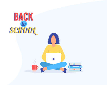 Teen girl does homework. Student girl with laptop and books. Female character gains knowledge. E-learning concept. Remote education. Back to school. Cute vector illustration in cartoon style.