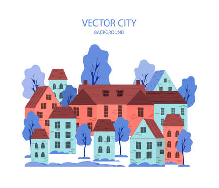 Vector illustration of a cityscape with buildings and trees - abstract horizontal background. Ilustração