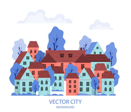 Vector illustration of a cityscape with buildings and trees. Cartoon style city on a white isolated background. Panorama of the city. Abstract background for images, website headers, banners, covers. Vectores