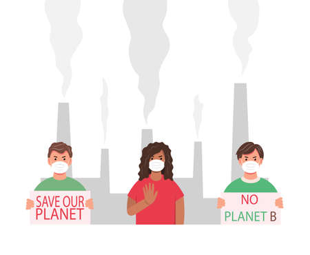 A group of people protesting against air pollution and the environment. Ecology concept. Masked activists protesting. Environment protection. Eco - activists with posters. Vector illustration.