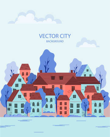 Vector illustration of a summer cityscape with buildings and trees. Cartoon style of the city. City panorama. Old town by the river. Abstract background. Vector illustration. Vectores