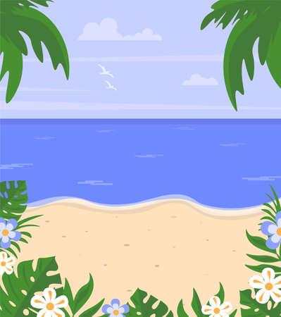 Summer landscape. Vector illustration in flat cartoon style. Vectores