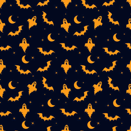 Halloween dark seamless pattern with ghost, moon and bat. Orange silhouettes on a dark background. Vector illustration. Vectores