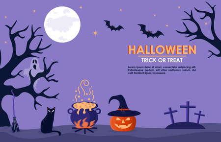 Halloween banner with cauldron, orange pumpkin in a hat and a cat. Full moon night in a spooky forest. Vector background with halloween attributes and place for text. For a card or invitation. Vectores