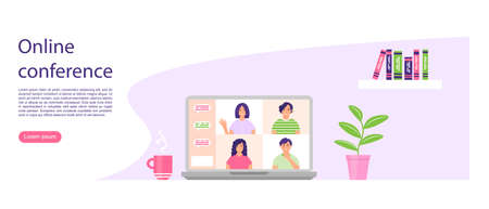 Videoconference concept. Online chat. People on the laptop screen. Online meeting with friends. Landing page design. Learning or business meeting. Cute vector illustration.