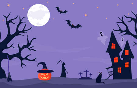 Halloween banner with haunted house, orange pumpkin with hat and cemetery. Full moon night in a spooky forest. Vector background with Halloween attributes. Vector background, banner or postcard.