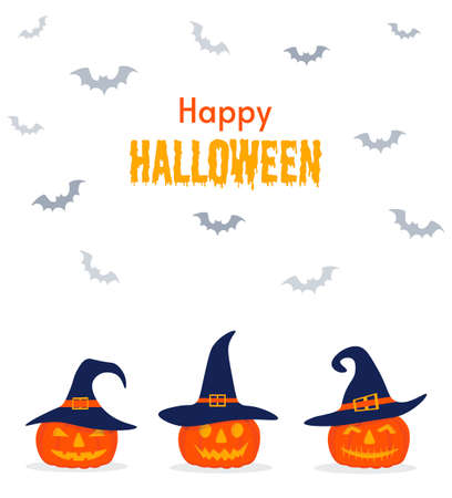 Happy Halloween background, pumpkin. Postcard for party and sale. Autumn vacation. Cute pumpkins in witch hats. Vector illustration isolated on white background.