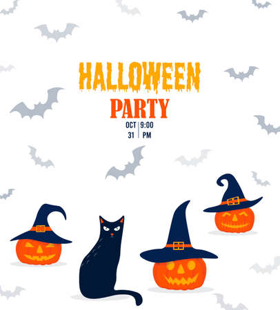Halloween invitation with funny pumpkin and cat. Pumpkin in a witch hat with a black cat in cartoon style. Vector illustration isolated on white background.
